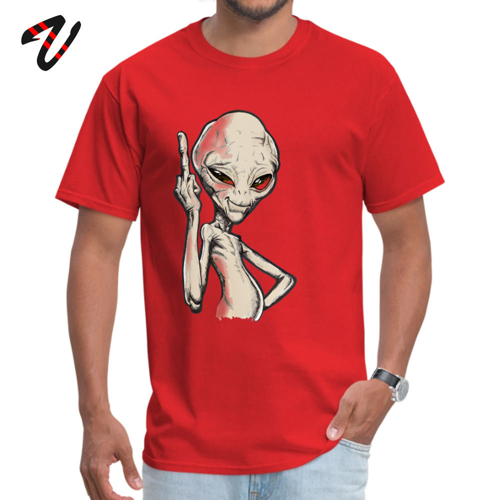Paul the Alien Tops T Shirt Prevalent O Neck Simple Style Short Sleeve All Cotton Student T-Shirt Funny Tee-Shirt Paul the Alien -2324 red