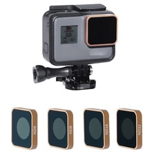 Aluminio CNC HD MRC ND4 ND8 ND16 ND32 Color oro lente filtro para GoPro Hero 5 5 5 6 6 7 Cámara negra