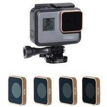 CNC الألومنيوم HD MRC ND4 ND8 ND16 ND32 الذهب اللون عدسة تصفية ل GoPro بطل 5 6 7 أسود كاميرا