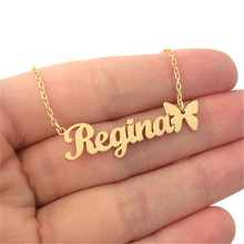 Custom Necklace Butterfly Pendant Stainless Steel Gold Chain Personalized Name Necklaces Choker Jewelry Collar Mujer BFF