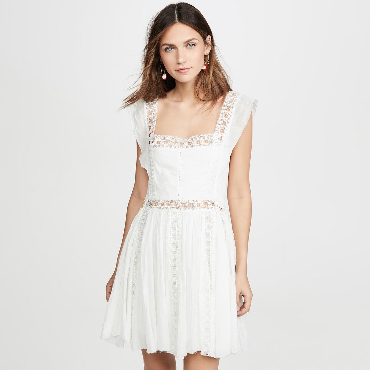 Été 2019 nouvelle Mini robe dentelle bord épissage décoratif col carré sans manches Mini robe Mini robe femmes