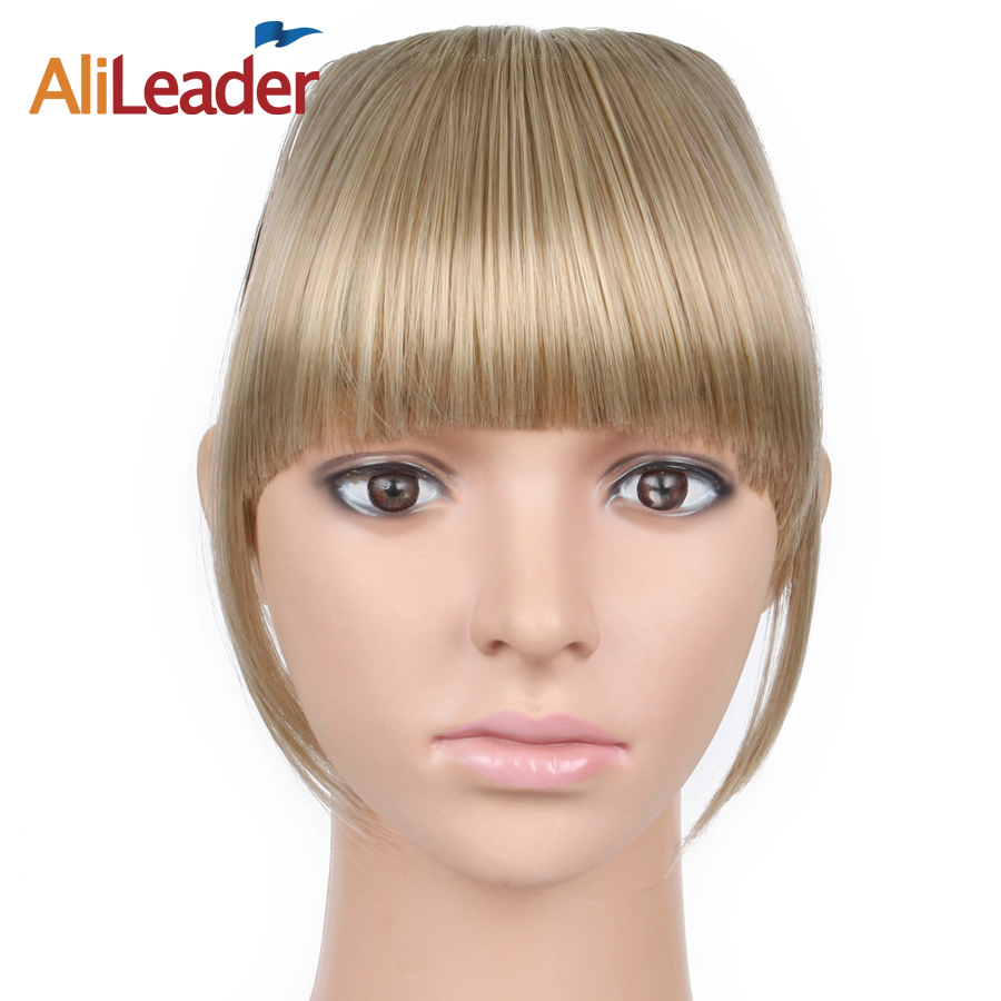 Alileader Synthetic 100% Real Natural Hairpiece Heat Resist Short Straight Front Neat