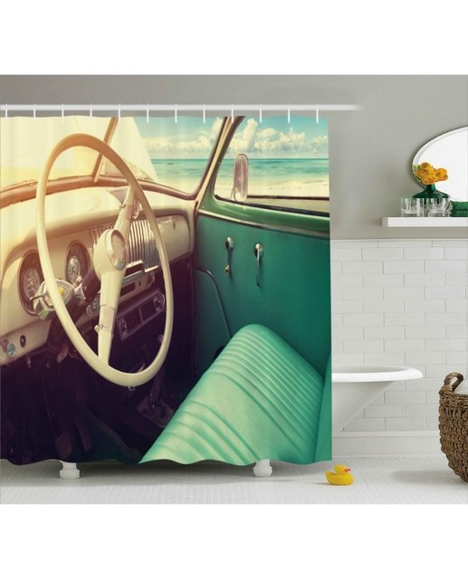 Car Shower Curtain Vintage Car At The Seaside Print For Bathroom ...