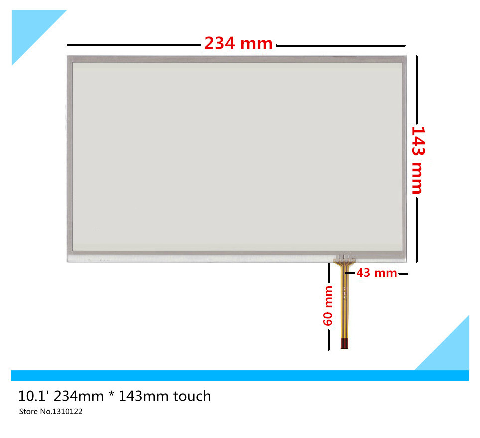 10.1 inch 4 wire 234mm*143mm Resistive Touch Screen Digitizer Handwritten screen display on the outside for Industrial equipment