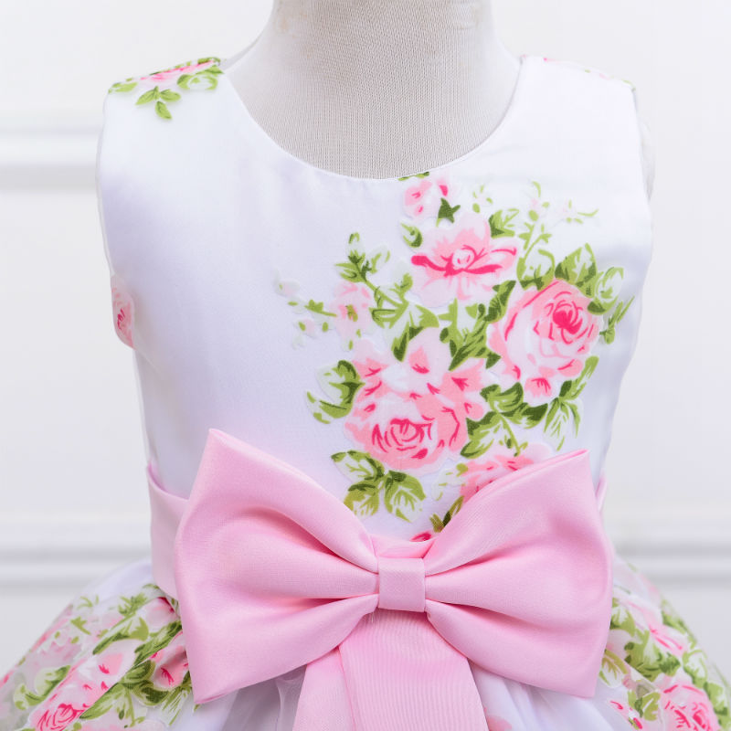 new style summer baby girl print flower girl dress for wedding girls