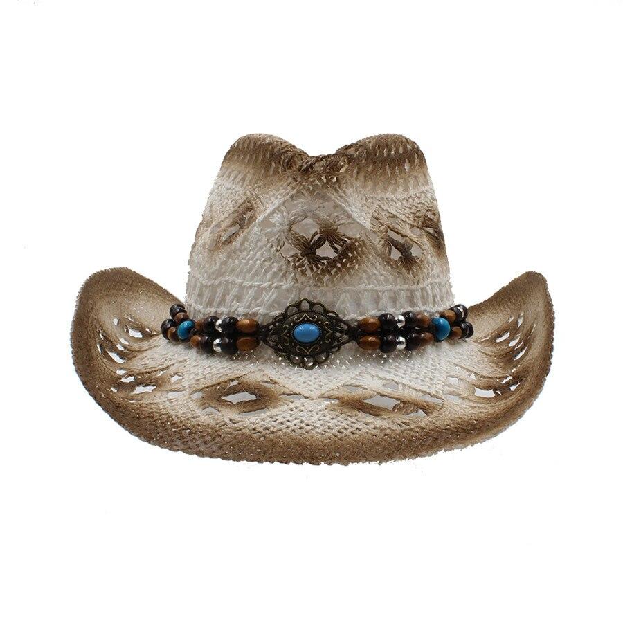 Musim panas wanita pria berongga topi koboi barat untuk pria cowgirl  pekerjaan tangan jazz cloche gereja cap ayah sombrero pantai matahari hat  di Topi Koboi ... 6d2a757d44
