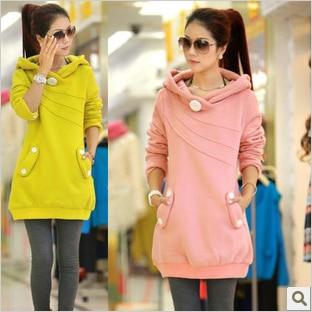 ФОТО Plus Velvet Cotton Maternity Hoodie Sweatshirt Fleece Tops Pullover Clothing Clothes for Pregnant Women Winter Outerwear B162