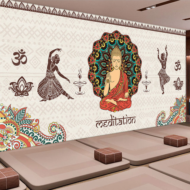wall india yoga buddha bedroom hall background mural dining living stadium custom zoom shipping wallpapers mouse aliexpress