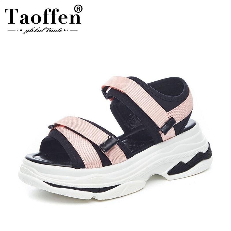 TaoFFEN ผู้หญิง Wedges รองเท้าแตะด้านล่างหนาผสมสีถักรองเท้าผ้าใบรองเท้าแตะ Casual Beach Party ใหม่รองเท้าผู้หญิงขนาด 35 39-ใน รองเท้าส้นสูง จาก รองเท้า บน AliExpress - 11.11_สิบเอ็ด สิบเอ็ดวันคนโสด 1