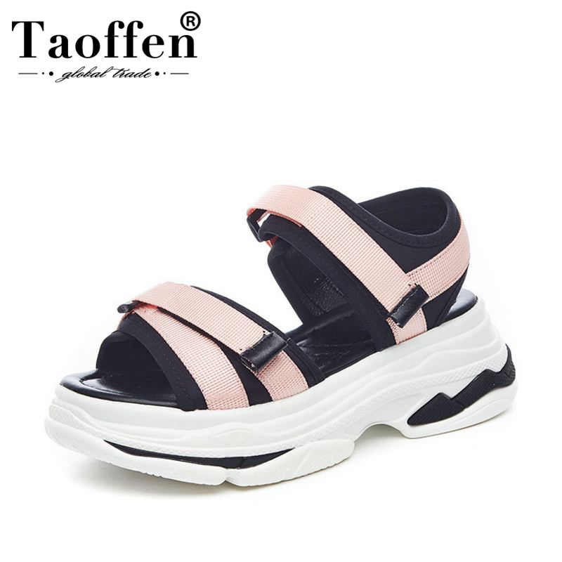 TaoFFEN Women Wedges Sandals Thick Bottom Mixed Color Knitting Sneakers Sandals Casual Beach Party New Shoes Women Size 35-39TaoFFEN Women Wedges Sandals Thick Bottom Mixed Color Knitting Sneakers Sandals Casual Beach Party New Shoes Women Size 35-39