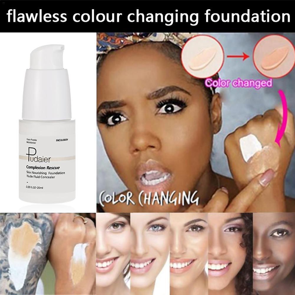 Colour Changing Foundation Warm Skin Tone Liquid Foundation Makeup Base Face Moisturizing  Concealer Cover