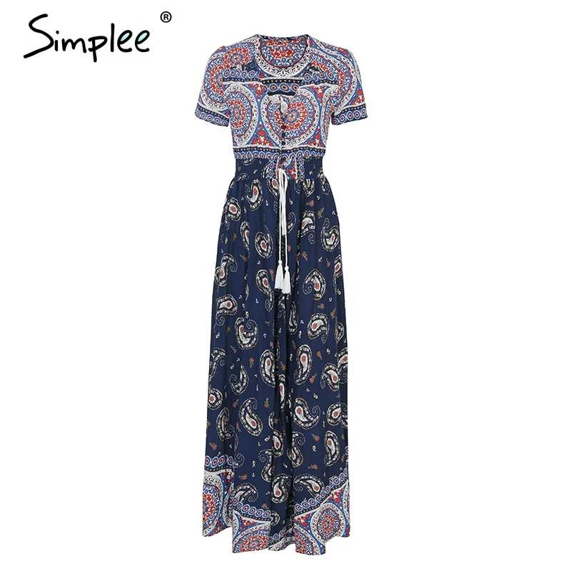 Simplee Boho шикарное длинное платье с высокой талией женское Повседневное платье на пуговицах с цветочным принтом женское летнее пляжное платье 2018 макси vestidos