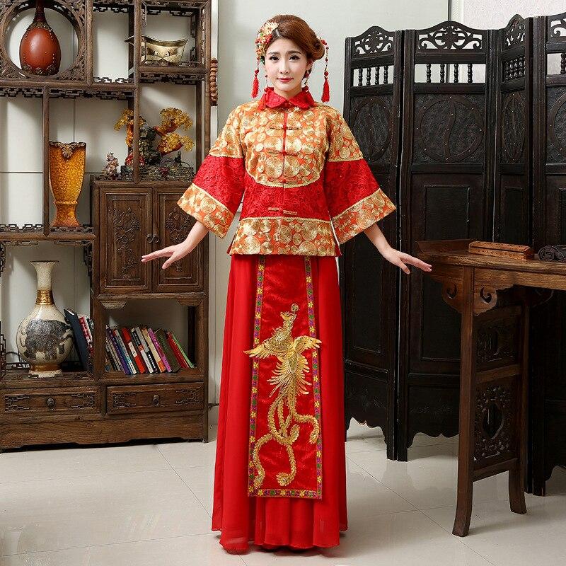Chinese Red Bride Wedding Dress Dragon Phoenix Embroidery Qipao Womens Stage Show Clothing Coat+Skirt 2pcs Set Cheongsam