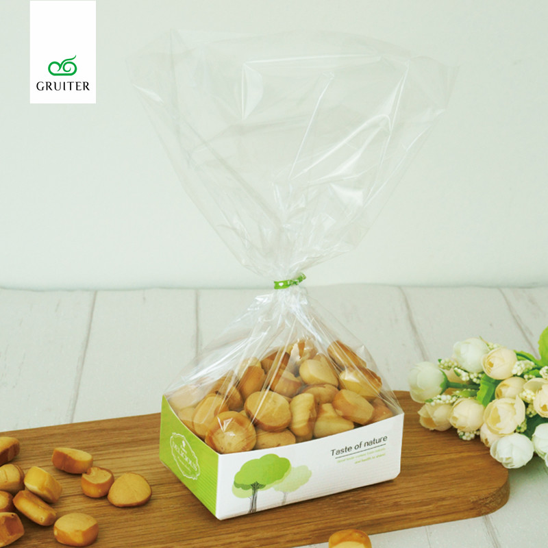 High Quality 50pcs Biscuit Cookie Candy Bread Plastic Bags Paperboard Packing Boxes Bakery Snack Food Box Puffs Bags 11x7x3.5cm