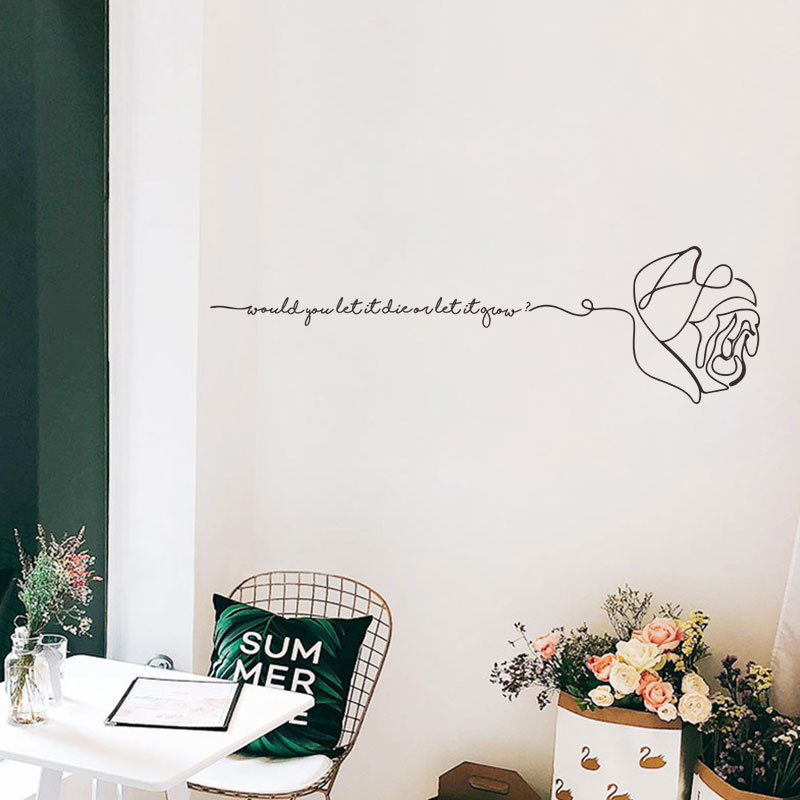 Creative Art English Alphabet Rose Wall Sticker Personality Pattern Bedroom Dormitory Background Decoration Stickers Decals