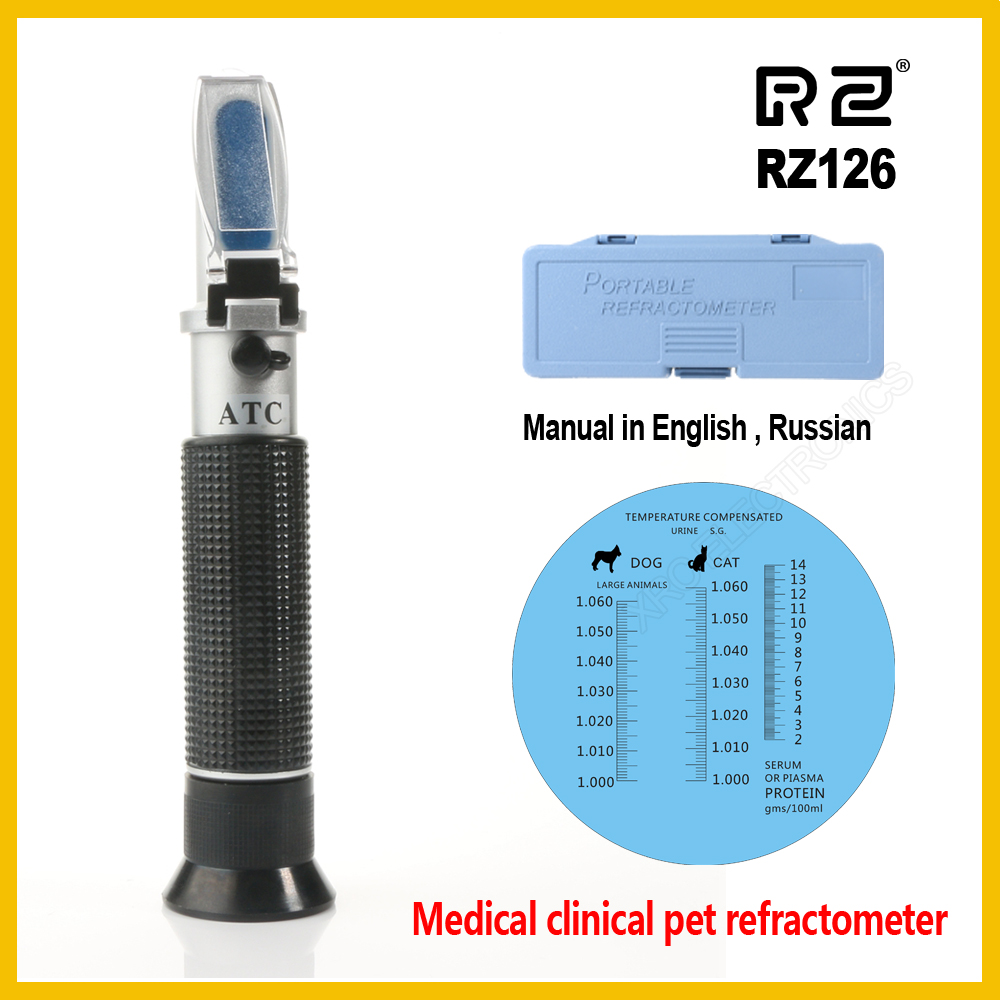 RZ Refractometer Clinical Medical House Pet Dog Cat Protein Serum Plasma Hemoglobin Tester Urine Specific Gravity RZ126 ATC traditional urine refractometer clinical protein veterinary human blood plasma handheld tool