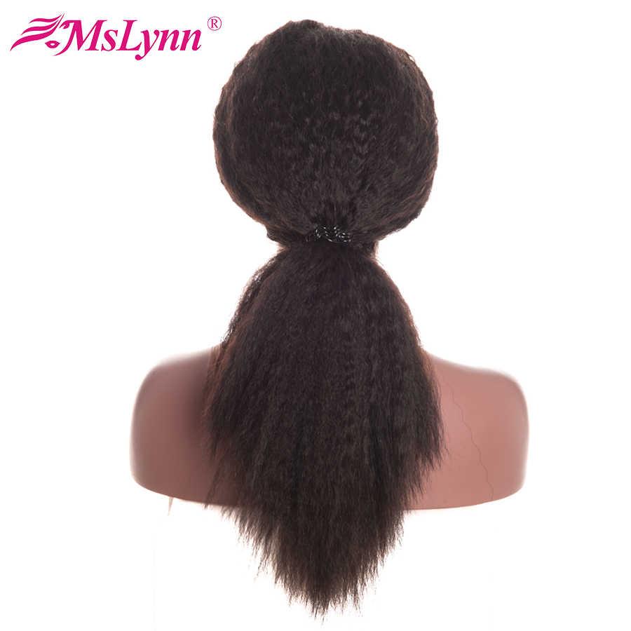 Mslyn 13x4 парики для волос на шнурках для женщин бразильские кудрявые прямые волосы парик с волосами для младенца remy натуральные черные волосы