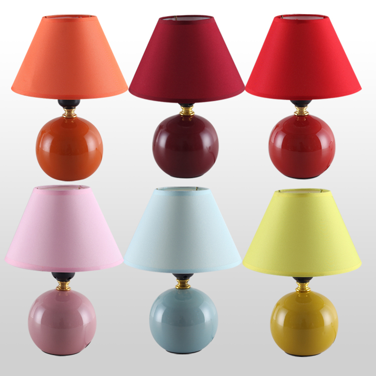 Hot Ing Fashion Modern Brief Ceramic Fabric Small Table Lamp Bedroom Desk Indoor Lighting Fixtures Free Shipping
