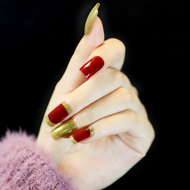 Honorable 24 Pcs Wine Red with Golden Glitter Long Artificial Nails ...