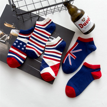 Fashion striped cotton men and women socks casual flag pattern socks Invisible socks