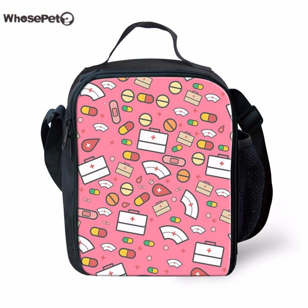 WHOSEPET Kawaii Children Lunch Bag 3D Cartoon Cute Nurse Printed Kids Thermal Bags Casual Shoulder Bag Boys Girls Picnic Bag New