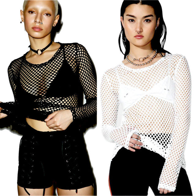 Fashion Women's Mesh Fishnet Long Sleeve Sheer Tops T Shirt 2017 New Sexy Perspective Tee Shirt Solid Black White by Hirigin