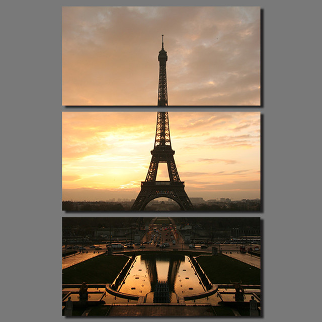 3 pcs sun Eiffel Tower Modern city Paris picture decoration canvas ...