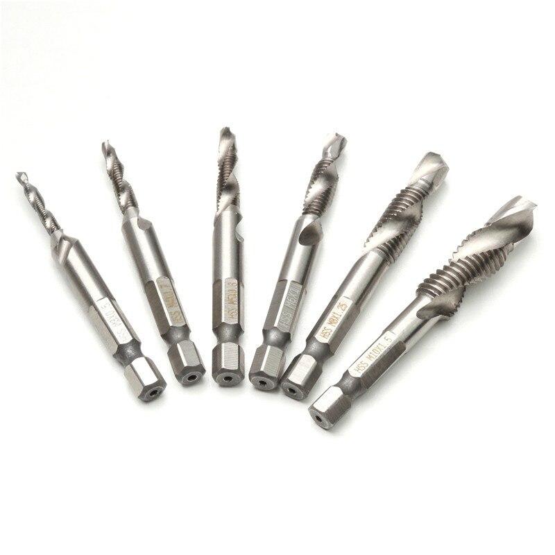 6 pz M3-M10 Vite Tap Drill Punte Hss Rubinetti Svasatura Sbavare Set Combinazione Metric Bit High Speed Acciaio 1/4 IN Quick Change Hex