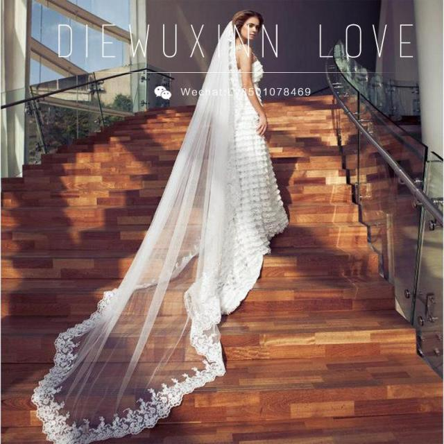 Bridal Long Lace Cathedral Wedding Veil -3 m Meter