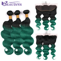 BEAUDIVA Pre Colored 1B/Green Remy Brazilian Body Wave Bundles With Closure Lace Frontal With Bundles Human Hair Weave