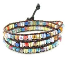 Bohemia Colorful Dice Shape Crystal Beaded Single Leather Wrap Bracelet Semi Precious Square Cuff
