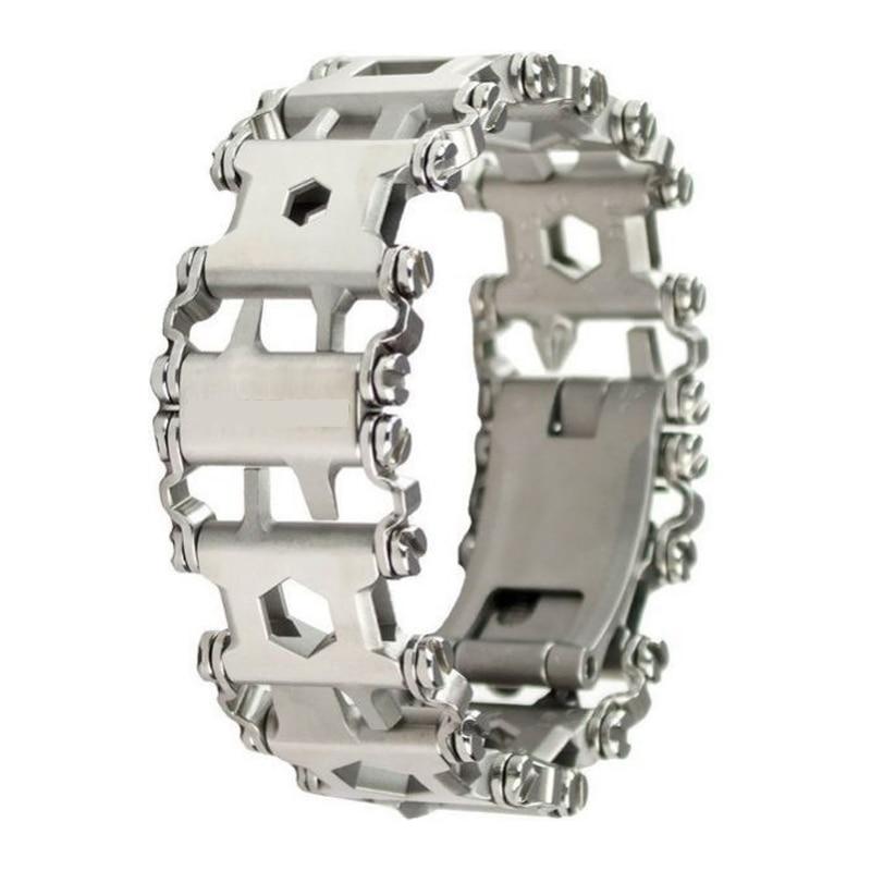 Outdoor Stainless Steel Wearable Bracelet Tools Multifunction Screwdriver 29 kinds Function EDC Emergency Gadget