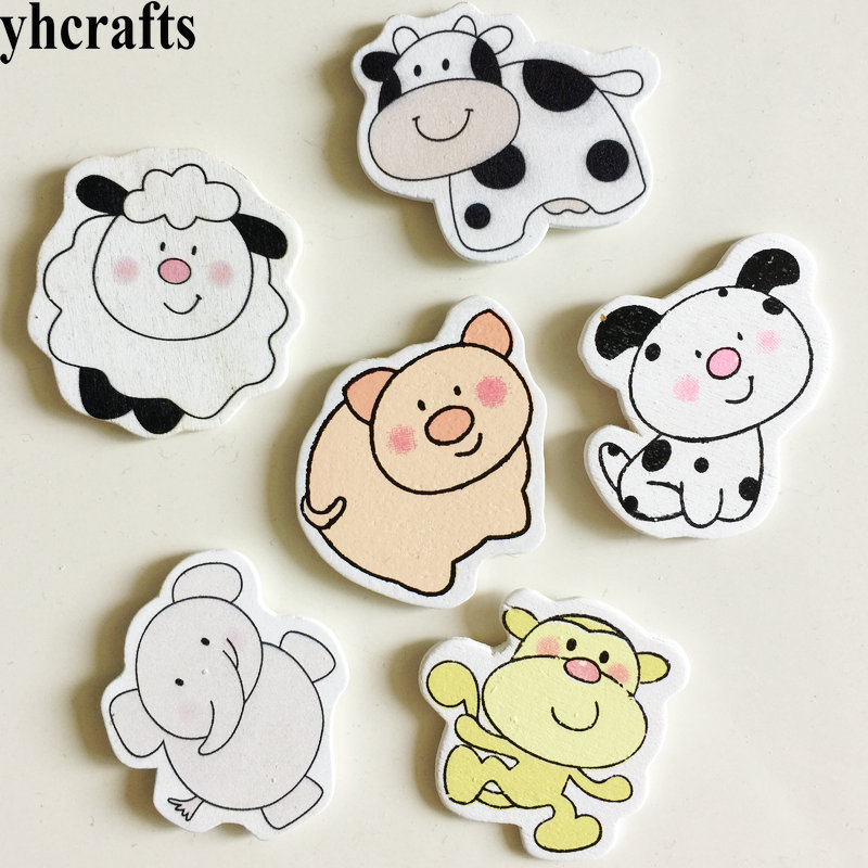10PCS/LOT,Zoo Animals Cow Pig Wood Stickers Kids Toys Early Learning Educational Toys Baby Room Decoration Kindergarten Crafts