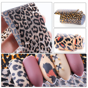 Image 4 - 1 Roll Leopard Print Nail Foil Transfer Slider Sticker Animal Starry Adhesive Nail Wrap Decal 3D Decoration Tips Manicure CH730