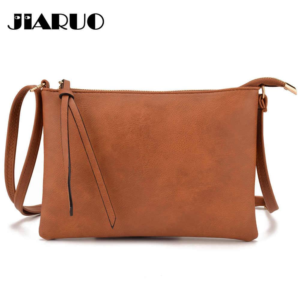 JIARUO Vintage Slim Thin Women Leather messenger bag envelope Crossbody bag  for ladies small mini shoulder 62ff9b412c42f