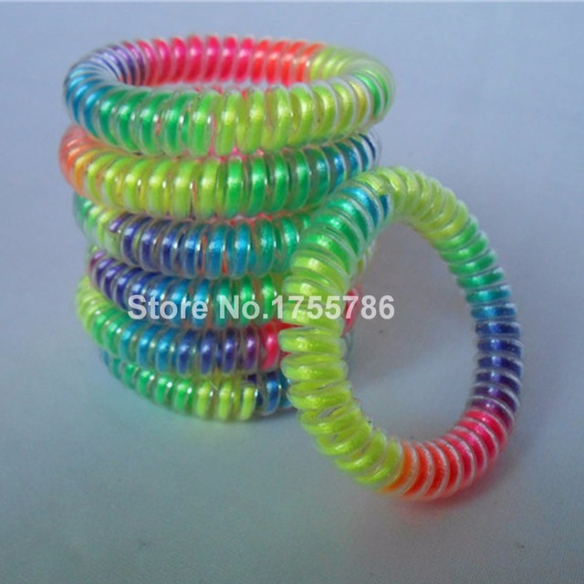 10pcs lot New Rainbow Color Telephone Wire Bracelet Hair Rubber Bands  Elastic Hair Scrunchies Ring Rope Ponytail Holder 667bd522b7c