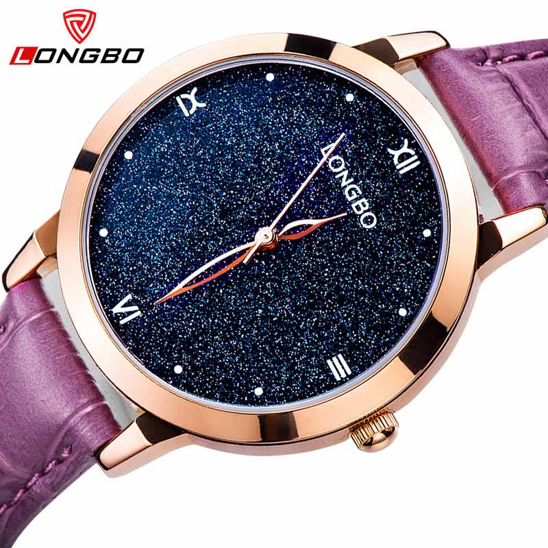 LONGBO 2017 New Women Watch Brand Fashion Starry Sky Luxury Quartz Analog Waterproof Watch Stars Roman Dial Genuine Strap Watch