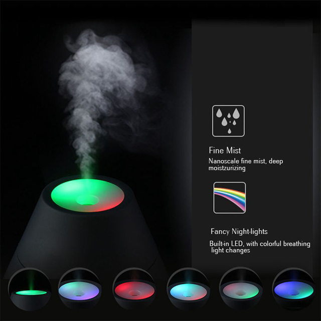 Creative LED 160ML Volcano Style USB Ultrasonic Humidifier With Colorful LED Light ESential Oil Aroma Diffuser Auto Off Touch 4