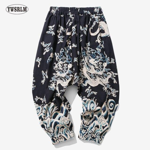 9917ac788 India Nepal Loose Linen Pants China Dragon Pattern Cotton Linen Trousers  Men Soft Natural Flax Pants Elastic Waist Comfortable