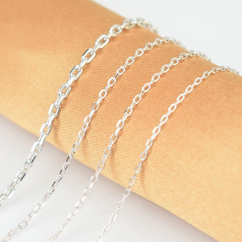 40-60 cm Original 925 argent Sterling ovale Rolo croix chaîne Collier mode femmes bijoux italie Kolye Collares Collier Femme