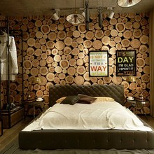 53cm×10m Vintage Stump Wall Papers 3d Modern Personality Round Stake Wood Grain Nostalgic Retro Bar Restaurant Wallpaper