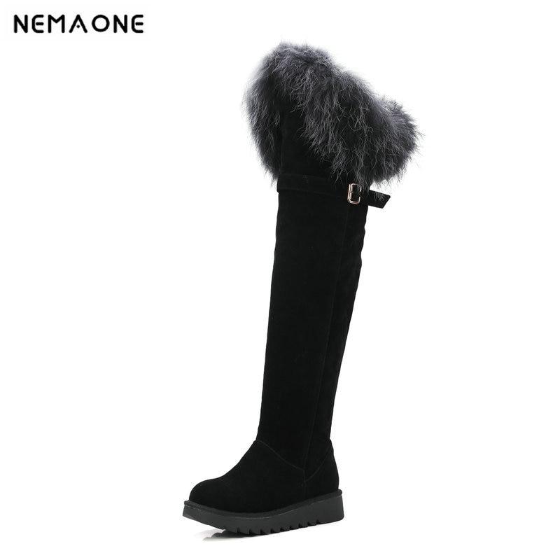 NEMAONE Sexy fur women knee high snow boots plush winter warm flat platform ladies boots woman party wedding shoes large size 43 цена