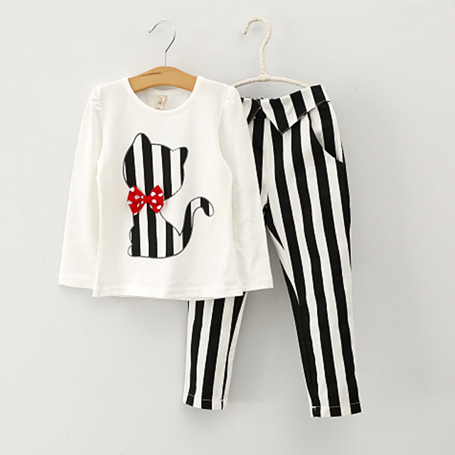 Free Shipping  Fashion Long Sleeved Striped Cat Girls Suit Children 2PC Clothing Set Tee + Pants