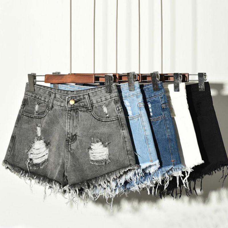 New 2018 Fashion Sexy Women High Waist Jeans Causal Ripped Hole Denim Jeans Shorts Fraying Edges Short Pants Plus Size 6XL H8
