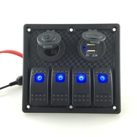 12V 24V Input DC 4 Gang Waterproof Marine Blue Led Switch Panel With Power Socket And