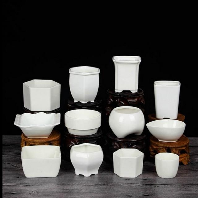 2019 Ceramic Flower Pots for Juicy Plants Small Bonsai Pot Home and Garden Office Decor Mini Succulent Plant Pots Decoration E