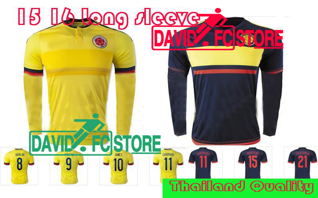 f0e2c94b2cf Colombia 2016 soccer jersey home away FALCAO Colombia Long sleeve jersey  JAMES RODRIGUEZ Colombia 15 16 football soccer shirt