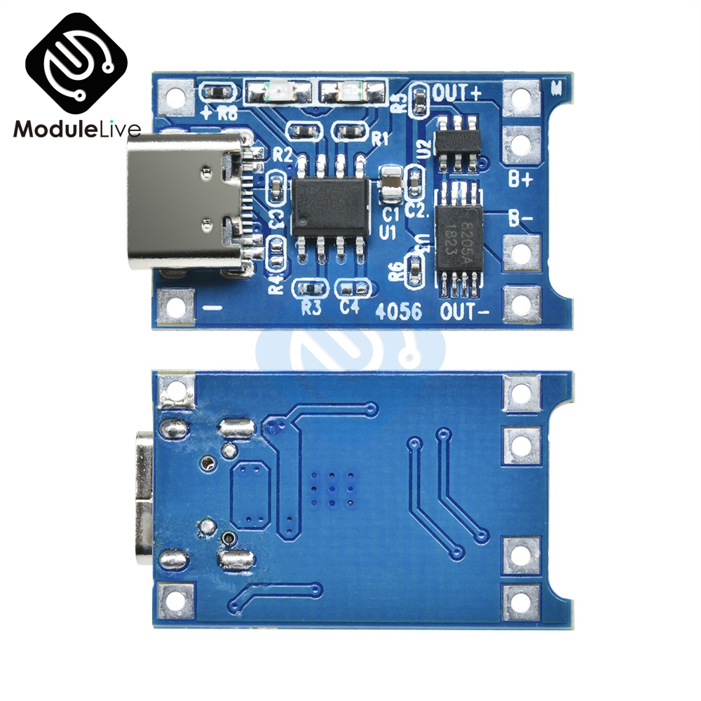 10PCS 5V 1A Type-C  Type C USB 18650 TP4056 Lithium Battery Charger Module Charging Board With Protection 1A Li-ion