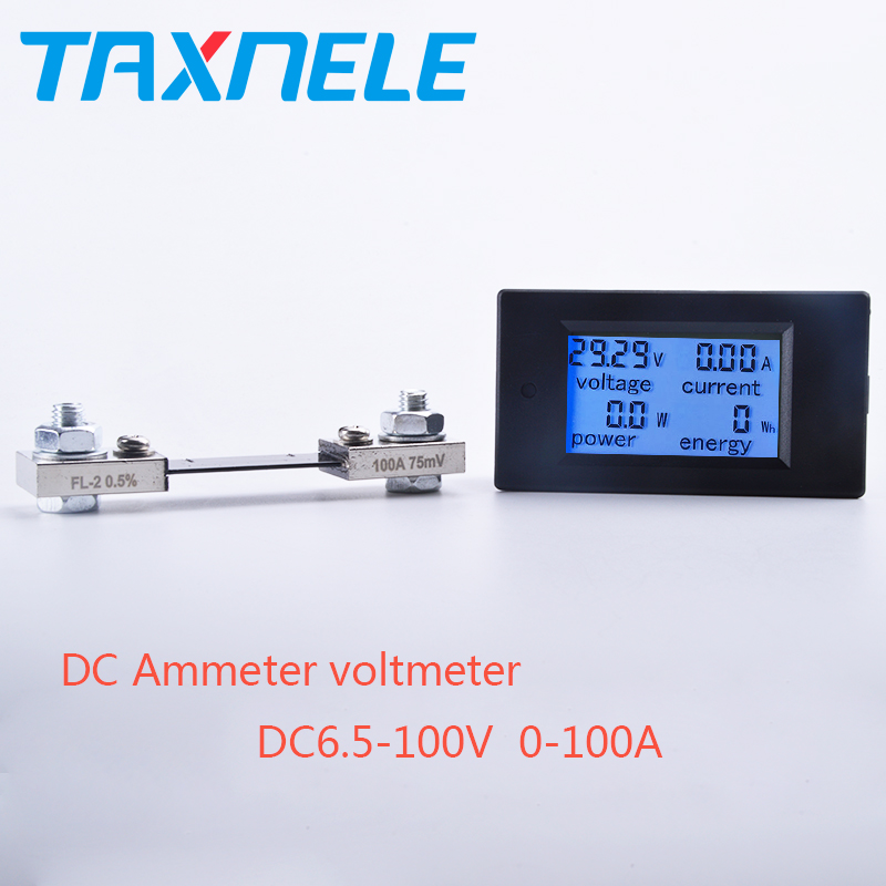 Free Shipping <font><b>DC</b></font> Voltmeter Ammeter Power Energy Digital Voltage Current Meter LCD 4 inch <font><b>DC</b></font> 6.5-100V 20A 50A <font><b>100A</b></font> with Shunt image
