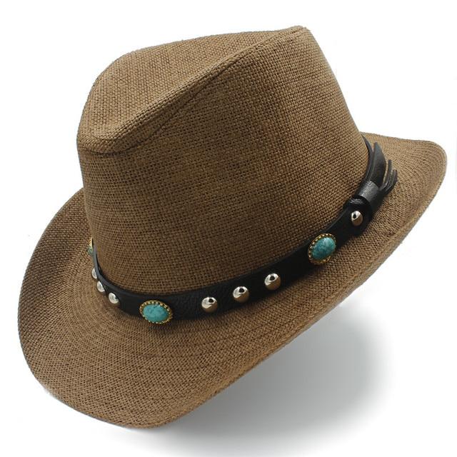 Handmade Weave Straw Men Western Cowboy Hat Gentleman Dad Summer Beach Sun  Hat Sombrero Cap Size b3e2cbb139d